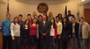 Romanian exchange students from College Mihai Viteazul, Burcharest meet Staunton Mayor Lacy King.